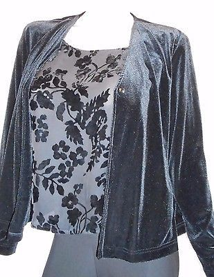 Joan Leslie Size Large Black Velvety Soft &Pretty Two Piece Look Long Sleeve Top