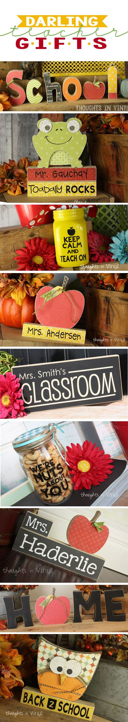Fun teacher gifts or darling crafts for back to school time.