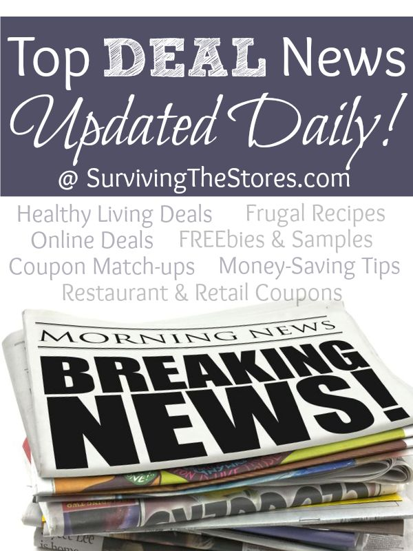 All of the top deals of the day in one place!  Find all of the best deals, freebies, frugal recipes, coupon matchups for your local stores, and more.  Updated daily!!