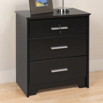 27 high coal harbor 3 drawer tall nightstand with lock black gloria nightstand. Black Bedroom Furniture Sets. Home Design Ideas