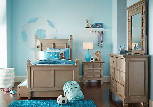 picture of Belmar Gray 5 Pc Twin Poster Bedroom  from Teen Bedroom Sets Furniture