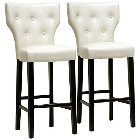 This set of 2 stylish beige back upholstered bar stools features sleek button-tufted  sc 1 st  Pinterest & 242 best Barstools images on Pinterest | Kitchen designs Bar ... islam-shia.org