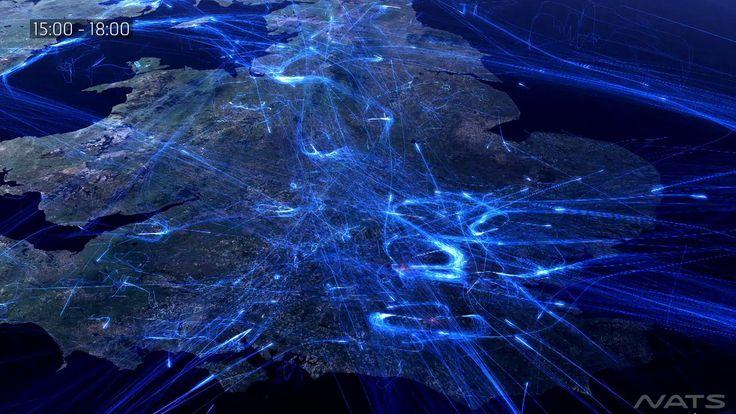 Wizualizacja pokazująca natężenie ruchu lotniczego