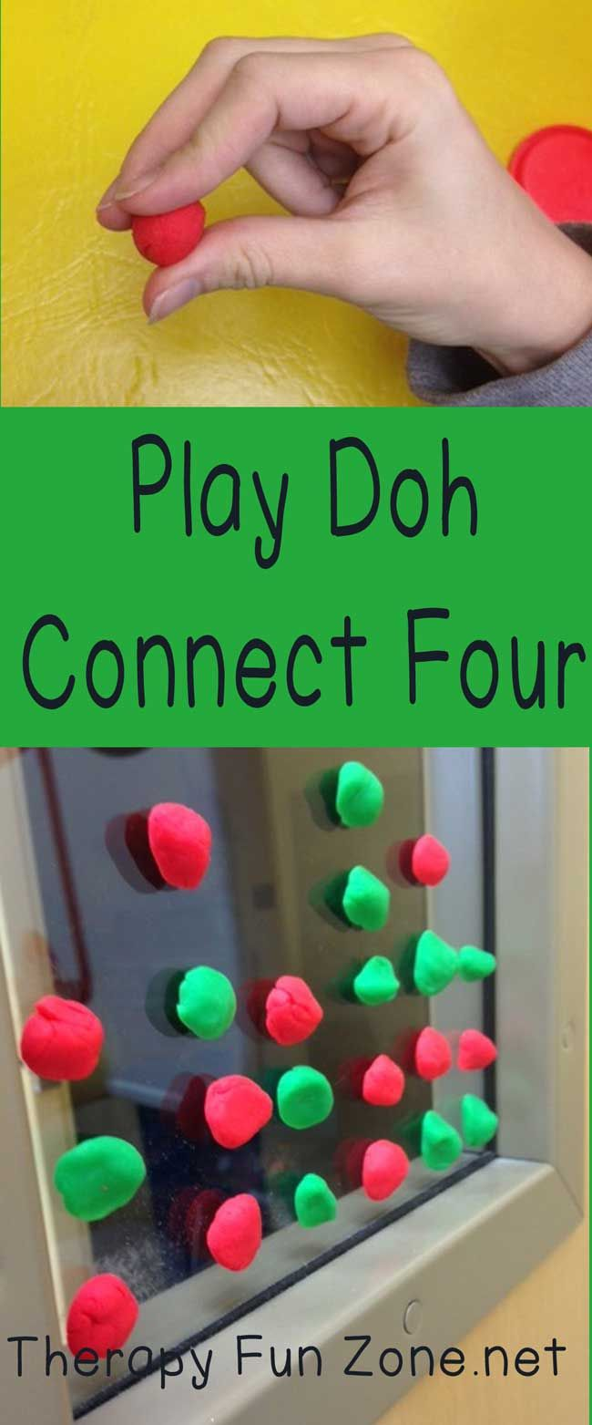 Play Doh Connect Four is a fun activity that was created by Marie Logan, an Occupational Therapist with UAB Pediatric Neuromotor Clinic.  This activity is a great way to combine the benefits of using play doh, and the fun of playing connect four while working on hand, wrist, and forearm skills.  In order to play you need to have two different colors of play doh and a vertical surface to stick the play doh onto. To start playing the game, you  {Read More}