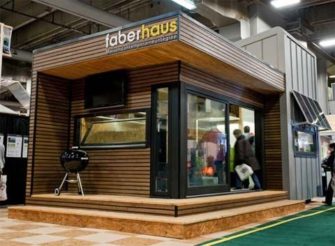 The Pavillon by Faberhaus is a new concept, currently presented at Montreal's 'The City and Suburb Home Show'. It's a small prefabricated cabin, only 450 sq. ft. (terrace included), designed to live a self-sufficient life open to nature. It prides itself to have a small ecological footprint, with a minimal impact on the surrounding land and environment. Click for more photos.
