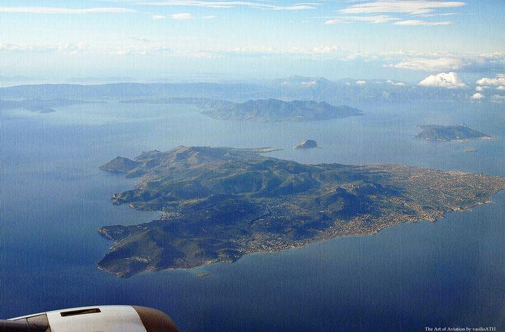 Πάνω απο την Αιγινα και τον Σαρωνικό Flying over Aegina and the Saronic Gulf