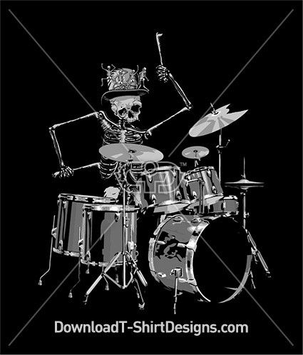 Skeleton Drum Kit Hat Band. Download this design and print on your T-Shirts or products today at: http://downloadt-shirtdesigns.com/downloadt-shirtdesigns-com-2122896.html
