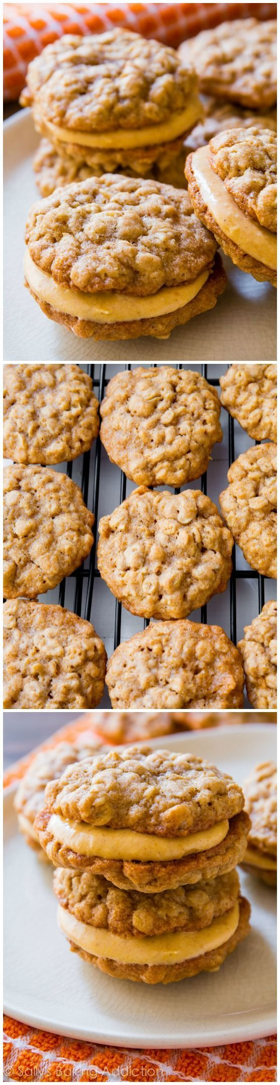 These Oatmeal Pumpkin Creme Pies are amazing any time of year! Soft, chewy, and so much sweet pumpkin and cinnamon flavors! Recipe on sallysbakingaddiction.com