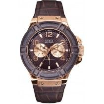 GUESS Multifunction Rose Gold Brown Leather Strap W0040G3