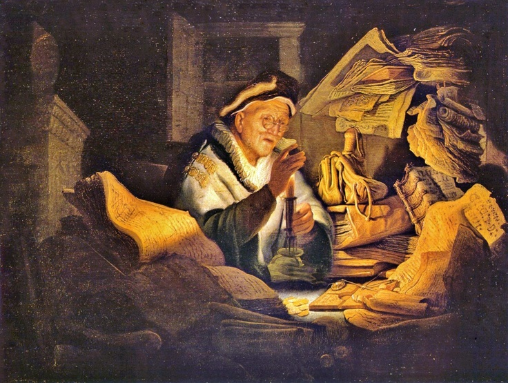 PARABLE OF THE RICH FOOL aka The Money Changer (1627) by REMBRANDT Harmenszoon van Rijn (Painter. Netherlands, 1606 – 1669)  Dutch Golden Age. One of the greatest painters & printmakers in European art history & the most important in Dutch history.  The parable reflects the foolishness of attaching too much importance to wealth. http://en.wikipedia.org/wiki/Parable_of_the_Rich_Fool Study, Books, Papers... © Gemäldegalerie, Berlin... Give credit where due ... Photo enhanced to show detail…