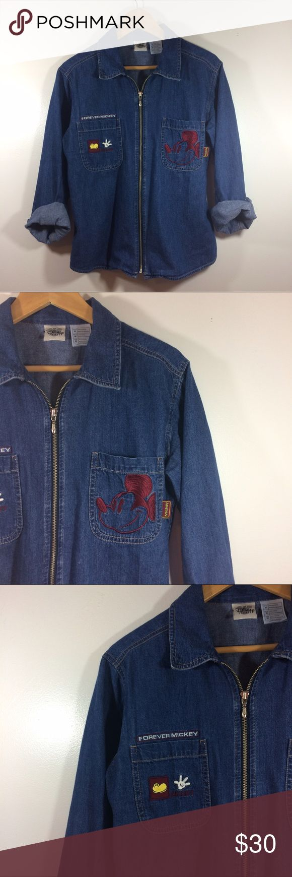 """VTG MICKEY FOREVER DISNEY denim zip up shirt M Size M """"Mickey forever"""" vintage zip up denim : jean shirt/jacket in excellent vintage condition with no holes, rips, stains, or other signs of wear. Disney Jackets & Coats Jean Jackets"""