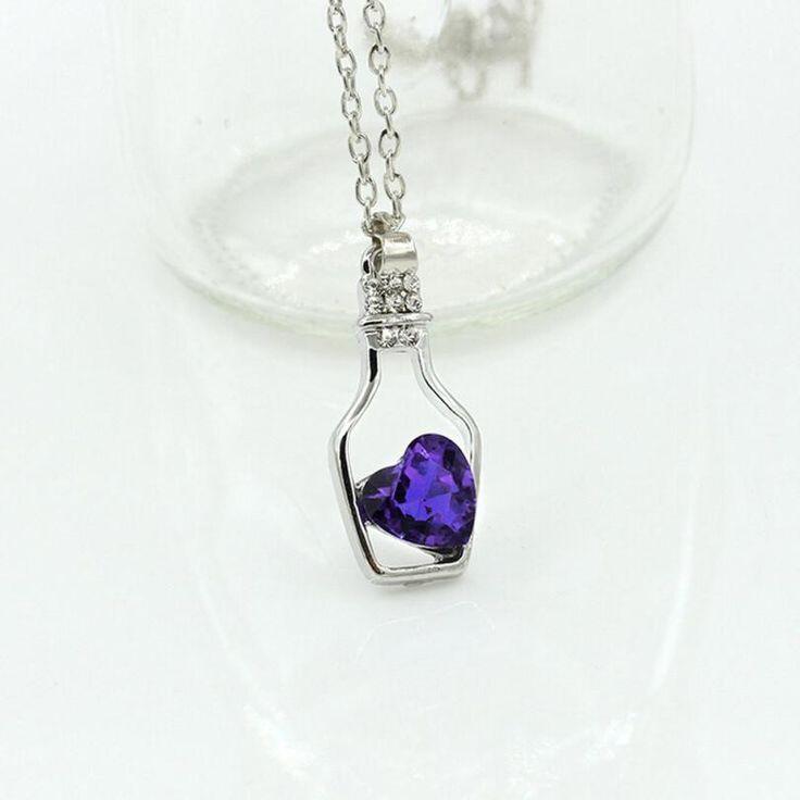 Trendy fashion simple and elegant Love Drift Bottles Pendant Necklace Blue Heart Crystal Pendant Necklace