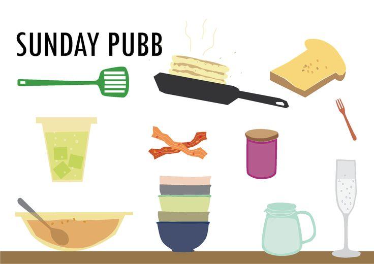 brunchposter on table stuff  #sundaypubb  brunch illust poster