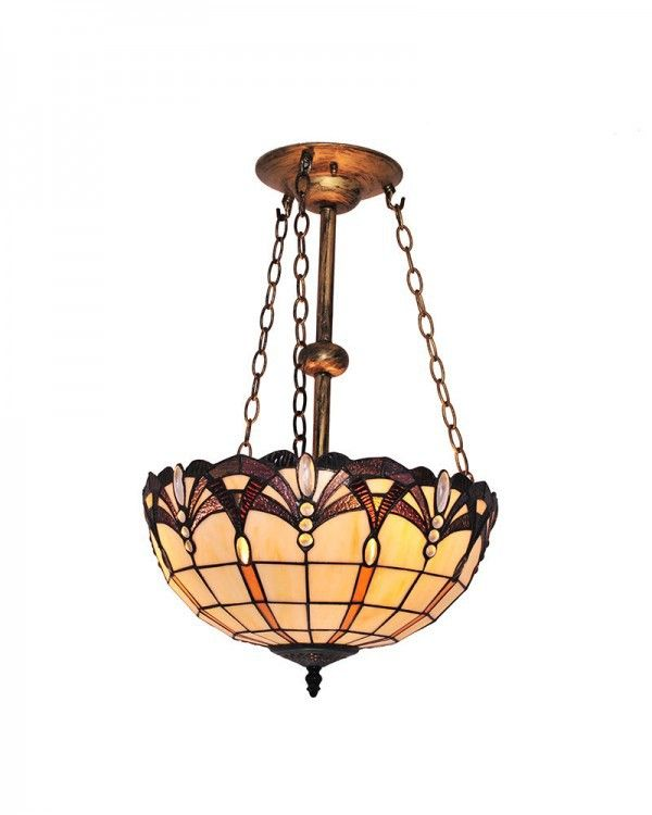 Tiffany Scrollwork And Grids Pattern Stained Glass Chandelier Lighting