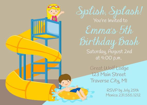 Water Slide Invitation  Girls or Boys Water by AnnounceItFavors, $15.00