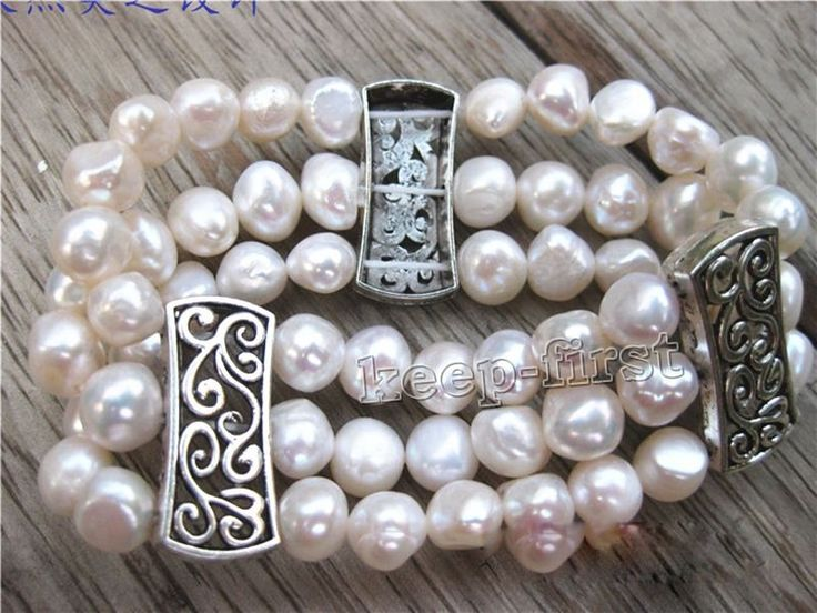3Rows Natural White Freshwater Pearl Tibetan Silver Stretchy Bracelet Aaa