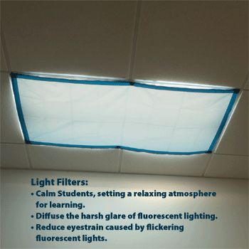 Classroom Lights Filters - Item No: 9058 $28 for 4 a bit pricy, but if your classroom gives you migraines it is well worth it