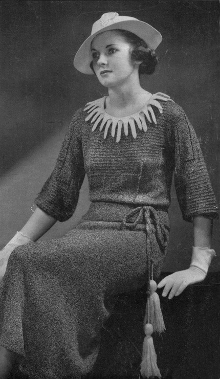 Vintage 1930s Dress Knitting Pattern  Digital