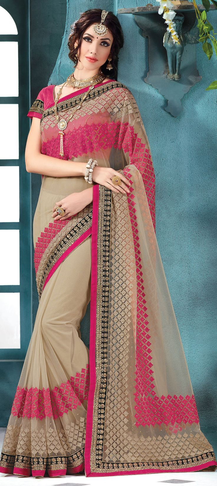 Beige and Brown color family Embroidered Sarees, Party Wear Sarees with matching unstitched blouse.