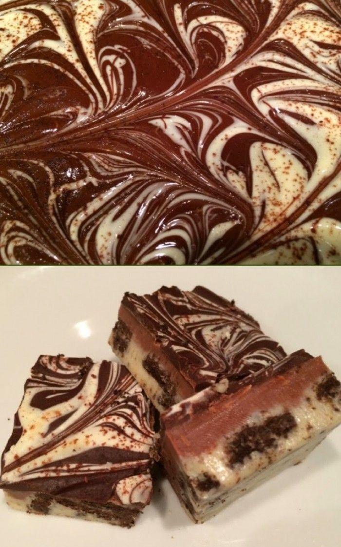 Hier maak je vrienden mee :). Dit is het ultieme chocolade genot! Het zijn rocky road fudge met oreo koekjes erdoor. Ze zien er prachtig uit en smaken geweldig