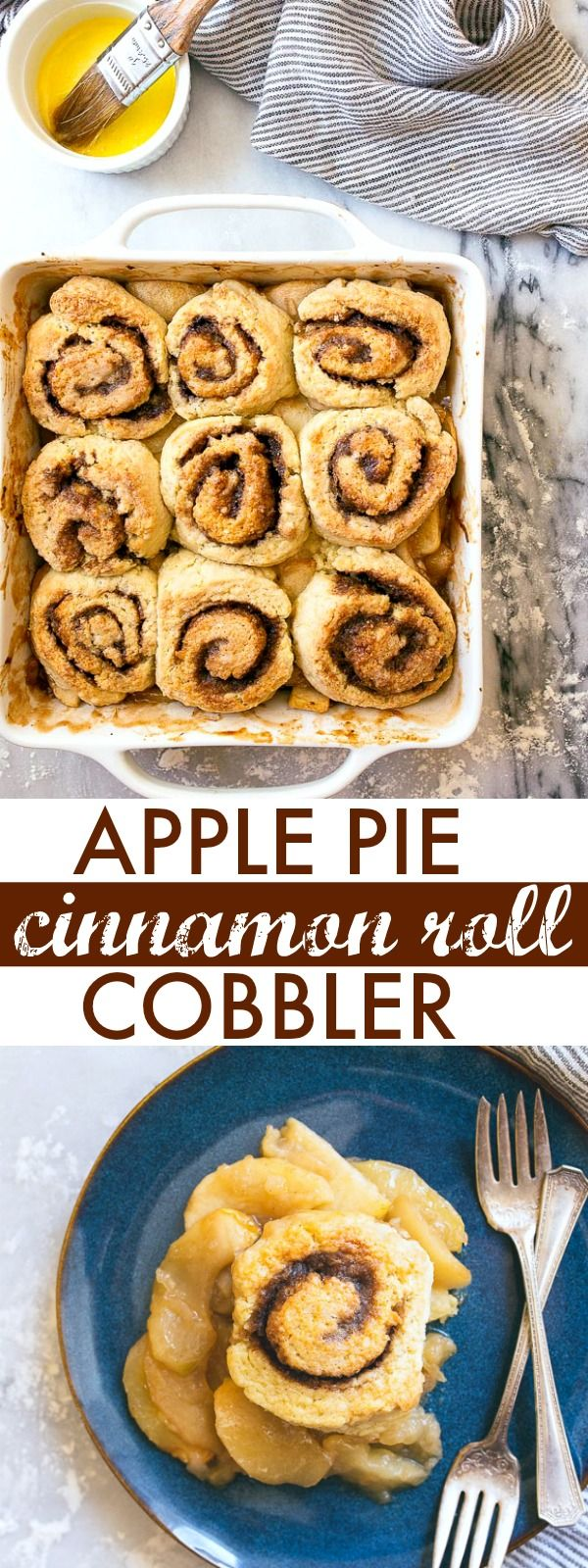 Apple cobbler topped with quick no-yeast cinnamon rolls. It does not get any better than this dessert!