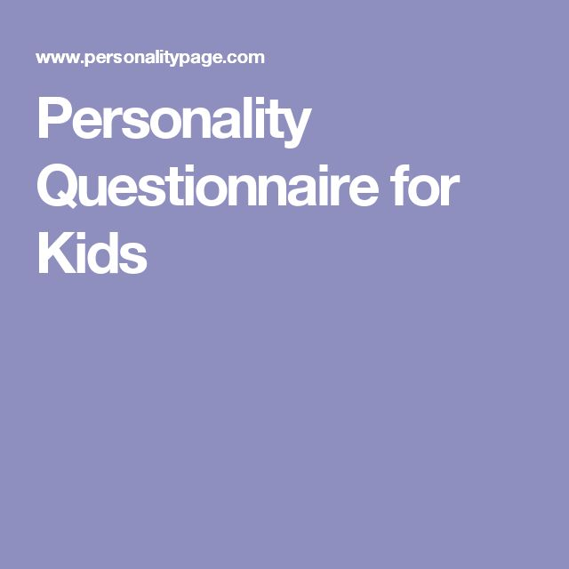 Personality Questionnaire for Kids