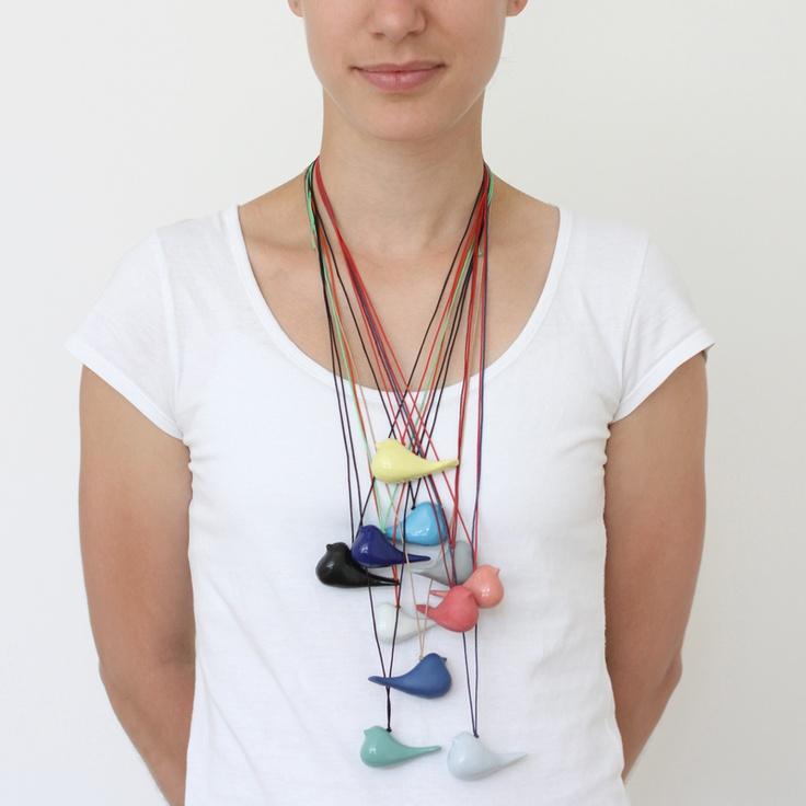 I wish for a birdie. Porcelain bird necklaces (spring/summer collection 2012 Tereza Severýnová) www.najs.cz