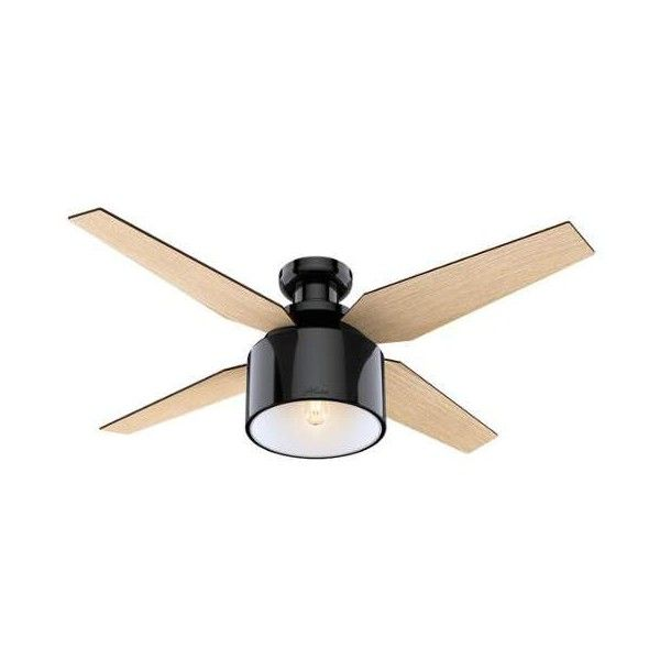 "Hunter Cranbrook 52 Low Profile 52"" Ceiling Fan - 4 Reversible (2.914.890 IDR) ❤ liked on Polyvore featuring home, home decor, fans, ceiling fans, gloss black, indoor ceiling fans, hunter ceiling fans, low profile fan, hunter light kit and low profile ceiling fan"
