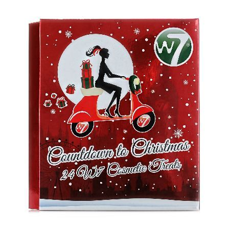 W7 Countdown To Christmas Advent Calendar W7 Countdown to Christmas with this festive W7 Cosmetics advent calendar! Contains 24 W7 cosmetic treats which include Contents: 5 x Nail Polishes, 8 x Lipsticks, 3 x Glitter, 6 x Lipgloss, 1 x Powder http://www.MightGet.com/may-2017-1/w7-countdown-to-christmas-advent-calendar.asp