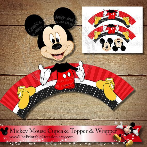 Mickey Mouse Cupcake Topper and Wrapper Set, Red Yellow Black Mickey Mouse Cupcake Topper, Donald Duck Cupcake Topper, Donald, Printable