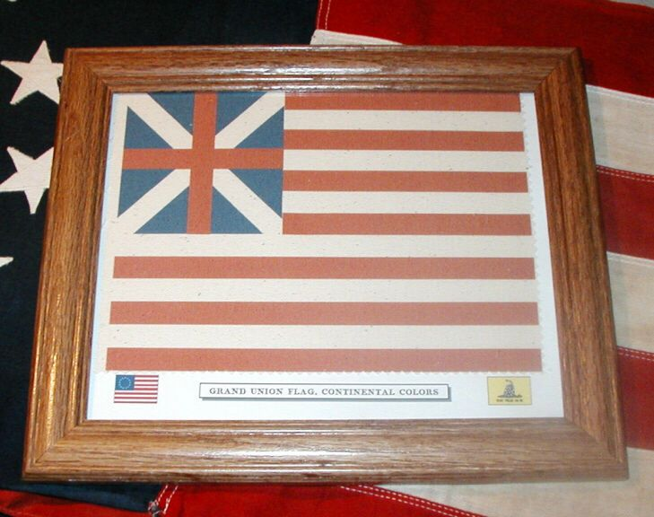 Framed Revolutionary War Flag,  Grand Union flag