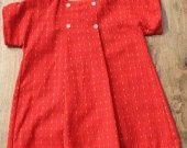Robe 2ans - flanelle de coton rouge à petits traits multicolores : Mode Bébé par atelier-mamouchka
