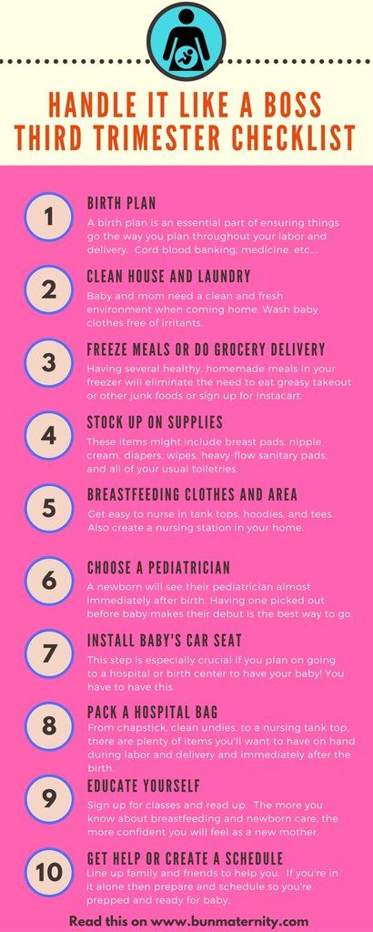Be Prepared like a Boss! Third Trimester Checklist and Infographic