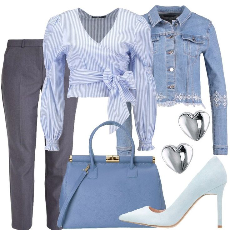I pantaloni di modello classico sono grigi. La camicia a maniche lunghe con elastico ai polsi e fascia in vita è a righe bianche e azzurre. La borsa a mano è color carta da zucchero. Le décolleté con tacco a spillo sono azzurro chiaro. La giacca è di jeans con ricami sulle maniche e attorno alla vita ove ci sono anche leggere frange. Gli orecchini, in argento, infine, sono a forma di cuore.