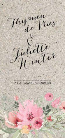 Lovz.nl   Romantische trouwkaart met karton look ondergrond en watercolour bloemen. Zelf eenvoudig online maken - alles is te bewerken - eigen account - kaarten opslaan