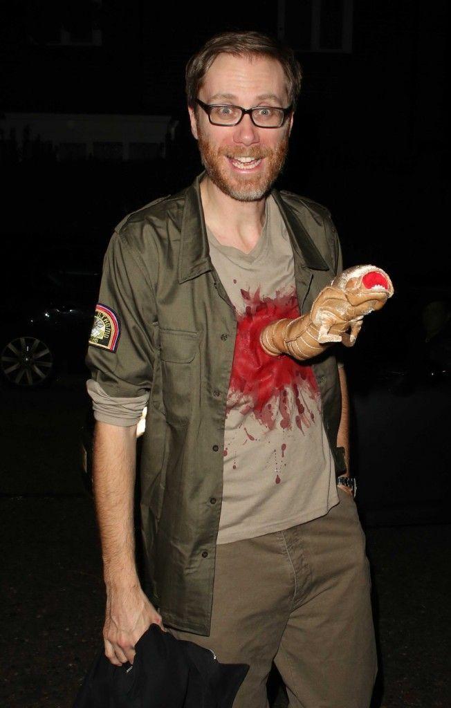 Stephen Merchant dressed as John Hurt from Alien, seen arriving at the Jonathan Ross Halloween Party in London