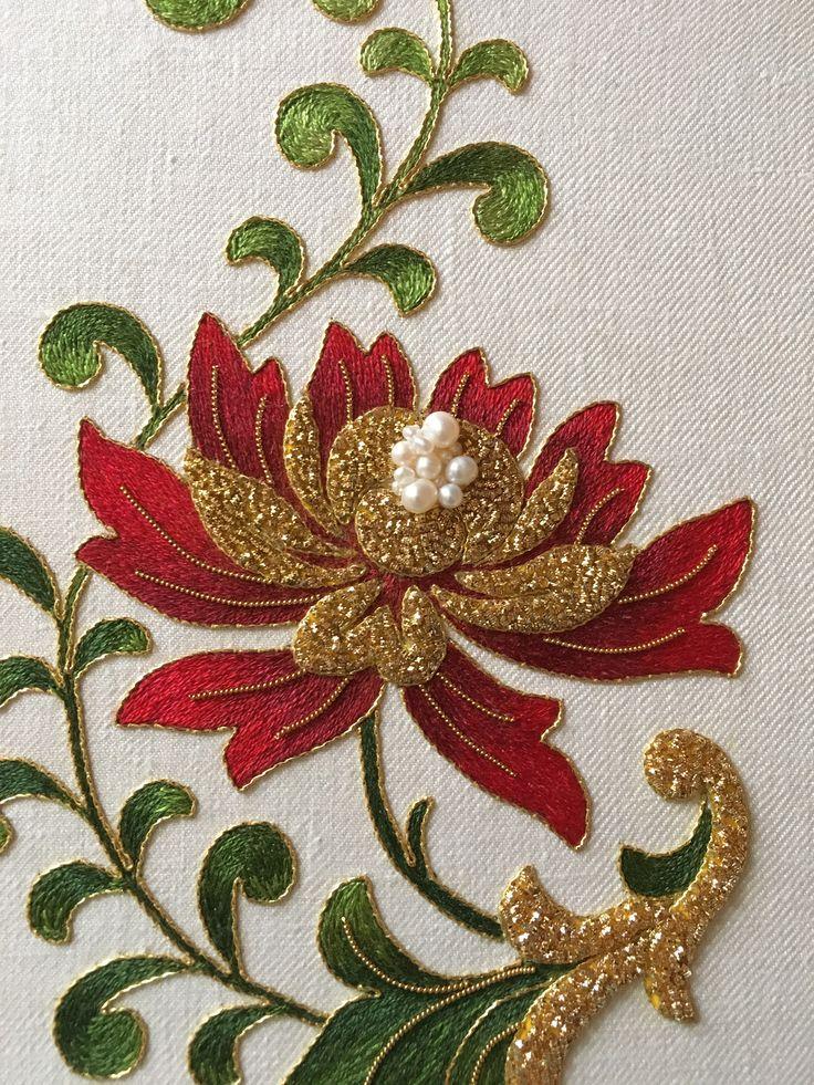 Silk thread (long and short stitch), gold thread, check purl, size - A4. Done by Larissa Borodich