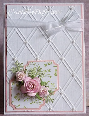 SU Vintage Vogue, Ticket Corner punch, Sizzix lattice E F, pearls (store bought roses - try to make)