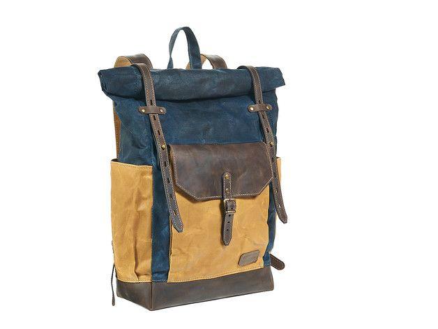 Blau und gelb gewachstem canvas leder rucksack