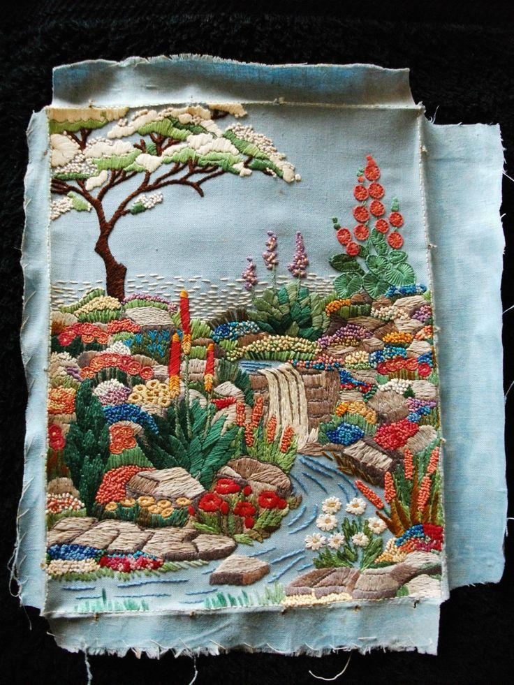 "Vintage Embroidered Linen 11.5"" X 9"" ART DECO 1930's GARDEN Picture Panel   eBay"