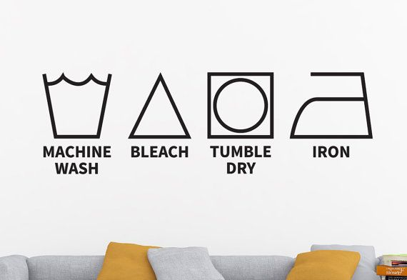 Who always forgets what the laundry symbols on their clothes mean? Next time you won't forget with this Laundry Symbols Decal! Click on the link for more info & see my profile page for a special offer!  Laundry Decor Laundry Room Decal Laundry Decal by DesignsByTenisha