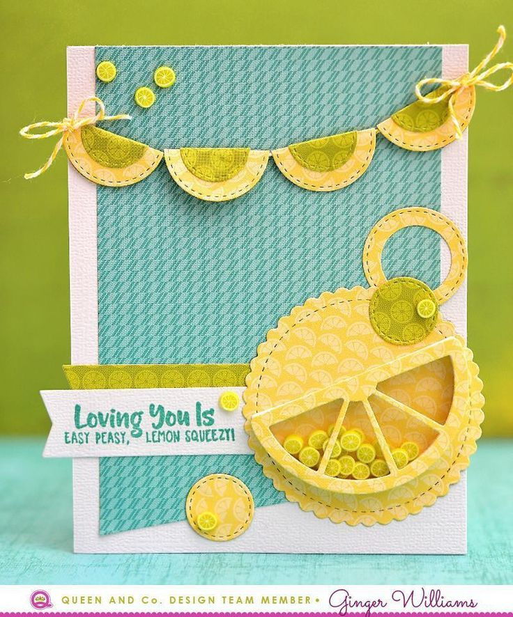 How to make an easy and adorable shaker card? Use the Fruit Basket Kit! Lemon Card, Shaker Card, Love Card, Friend Card. This fresh and fruity new kit is bursting with coordinating products to make amazing cards or scrapbook pages.