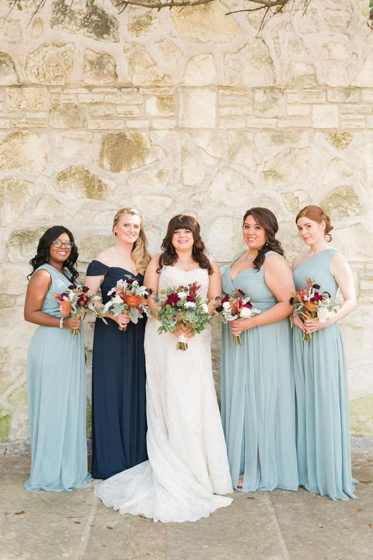 177 best blue weddings images on pinterest blue weddings bridesmaid dresses long chiffon sky blue navy red bouquets kirstyn ombrellifo Image collections