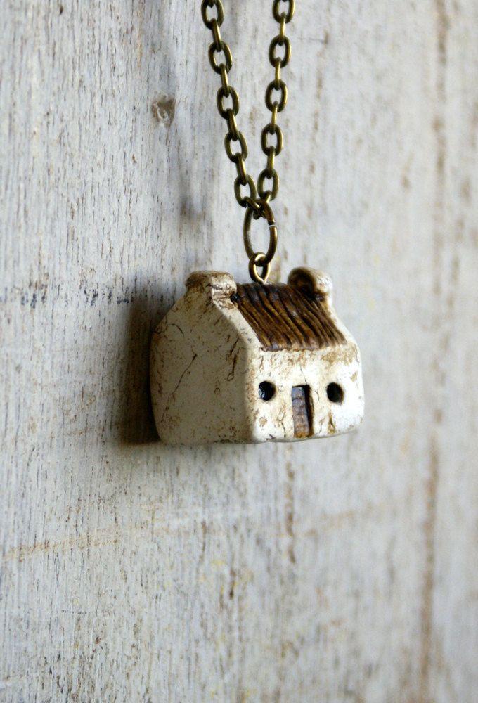 Miniature Irish Cottage Pendant Hand Painted Paper Clay -- Handmade in Ireland. $20.00, via Etsy.