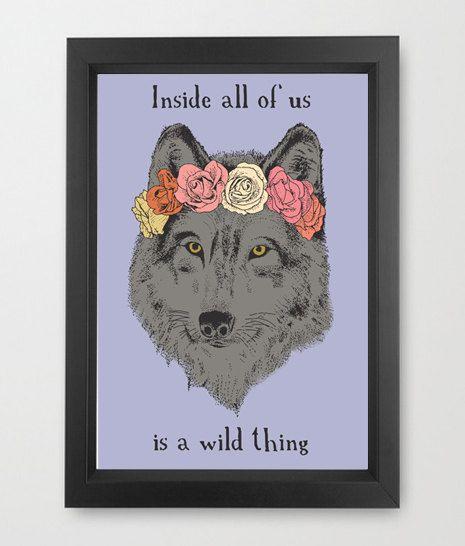 Wolf in a flower crown, digital art, illustration,  #wolf, #flower #crown #motivational #quote #inspirational #art #etsy #etsyshop #original #art