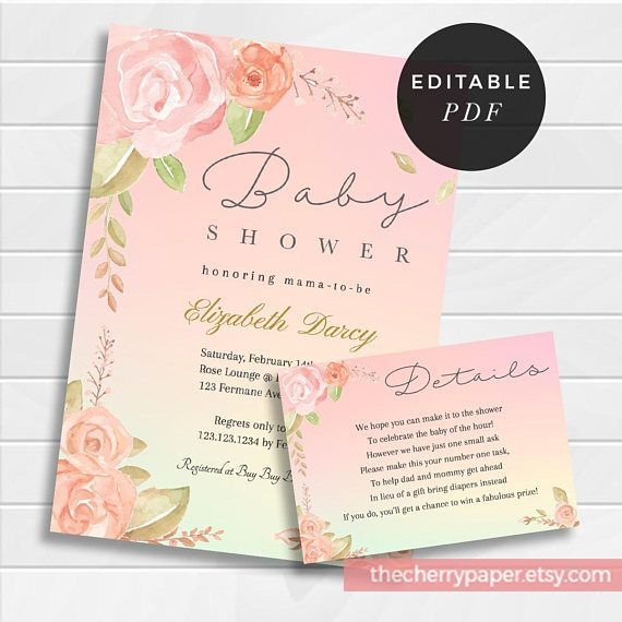 Editable Baby Shower Invitation, Baby Shower Invite, Printable, detail card, watercolor, flower, pink,boho,dreamy,beautiful,downloadable