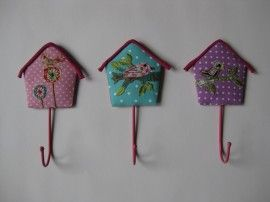 Cute hooks with birds houses in fabric