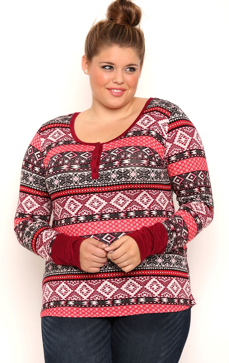 Plus Size Long Sleeve Fair Isle Print Henley Top with Solid Cuffs