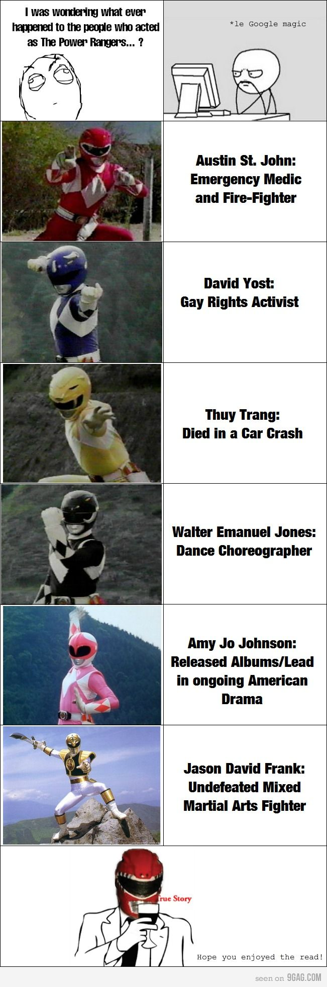 The Power Rangers. poor yellow ranger :( The Black one is still acting though as well.