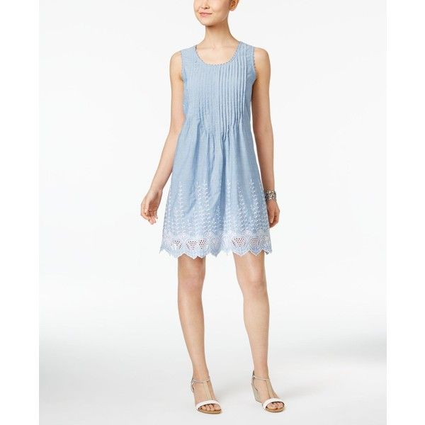 Style & Co Petite Cotton Eyelet-Hem Fit & Flare Dress, ($42) ❤ liked on Polyvore featuring dresses, chambray eyelet blue, blue fit and flare dress, scalloped dress, eyelet dress, blue cotton dress and white day dress